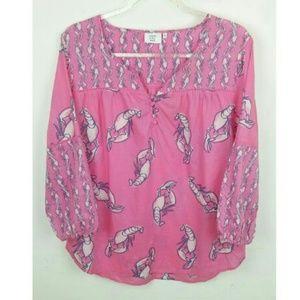Crown & Ivy Beach Pink Lobster Shirt 3/4 Sleeve